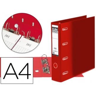 Archivador de palanca Elba cartón forrado tamaño A4 color rojo lomo de 75 mm rado con doble mecanismo