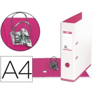 Archivador de palanca Elba mycolour cartón forrado tamaño A4 color blanco rosa lomo de 80 mm