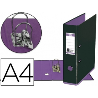 Archivador de palanca Elba mycolour cartón forrado tamaño A4 color negro lila lomo de 80 mm