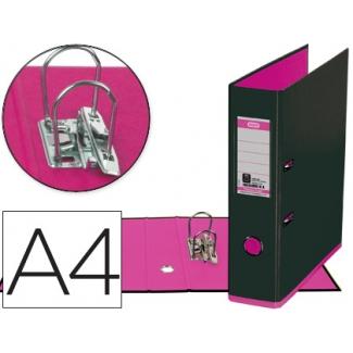 Archivador de palanca Elba mycolour cartón forrado tamaño A4 color negro rosa lomo de 80 mm