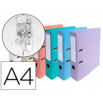 Archivador de palanca Exacompta cartón forrado pvc tamaño A4 colores pasteles surtidos lomo 70 mm con compresor metálico