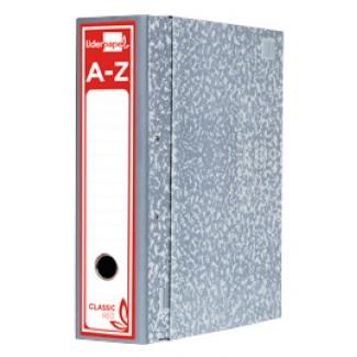 Liderpapel AZ49 - Archivador de palanca, tamaño folio, lomo ancho, con caja, color gris jaspeado