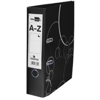 Archivador de palanca Liderpapel lucerna cartón forrado tamaño folio color negro con rado lomo de 75 mm con etiquetero