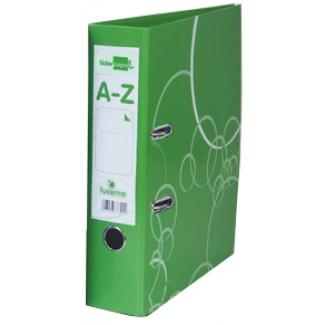 Archivador de palanca Liderpapel lucerna cartón forrado tamaño folio color verde con rado lomo de 75 mm con etiquetero