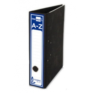 Archivador de palanca Liderpapel tamaño A4 classic blue cartón entrecolado sin rado lomo 80 mm color negro con compresor metálico
