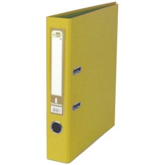 Archivador de palanca Liderpapel tamaño A4 documenta forrado pvc con rado lomo 52 mm color amarillo con compresor metálico