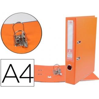 Archivador de palanca Liderpapel tamaño A4 documenta forrado pvc con rado lomo 75 mm color naranja con compresor metálico