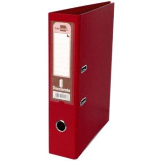 Archivador de palanca Liderpapel tamaño A4 documenta forrado pvc con rado lomo 75 mm color rojo con compresor metálico