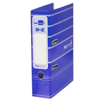 Archivador de palanca Liderpapel tamaño A4 filing system forrado con rado lomo 75 mm color azul con compresor metálico
