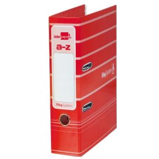 Archivador de palanca Liderpapel tamaño A4 filing system forrado con rado lomo 75 mm color rojo con compresor metálico