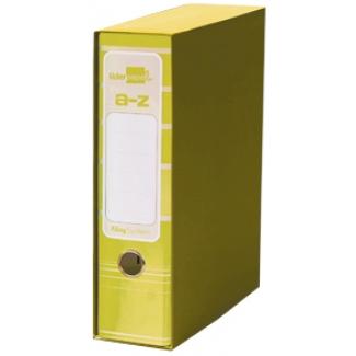 Archivador de palanca Liderpapel tamaño A4 filing system forrado sin rado lomo 80 mm color amarillo con caja y compresor metal