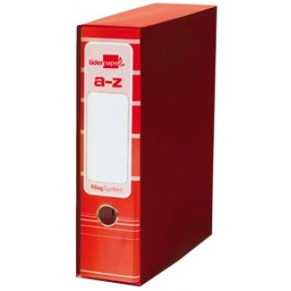 Liderpapel AZ16 - Archivador de palanca, tamaño A4, lomo ancho, con caja, color rojo