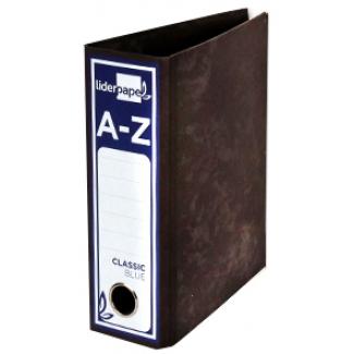 Archivador de palanca Liderpapel tamaño cuarto apaisado classic blue sin rado lomo 80 mm color negro con compresor metálico