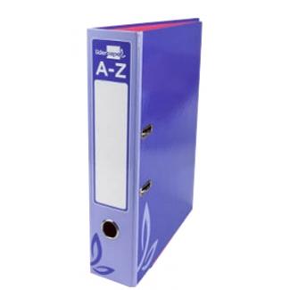 Archivador de palanca Liderpapel tamaño folio forrado con rado lomo 75 mm color violeta con compresor metálico