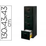 Archivador Fast-PaperFlow poliestireno 4 cajones para carpetas colg tamaño A4 modulo negrocajones color negro 130,8x43,7x43,5