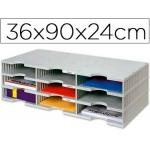 Archivador modular archivodoc trio estándar con 9 casillas 360x900x240 mm