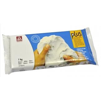 Arcilla plus que endurece al aire color blanco paquete de 1 kg