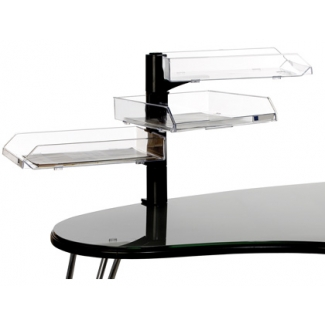 Archivo 2000 703 CSTP - Bandeja con soporte giratorio, 3 bandejas plástico, color transparente
