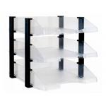 Bandeja sobremesa archivo plástico transparente con elevadores negro conjunto de 3 bandejas