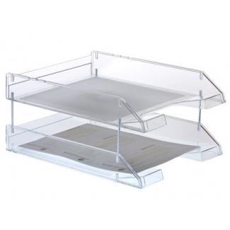 Bandeja sobremesa archivo plástico transparente cristal