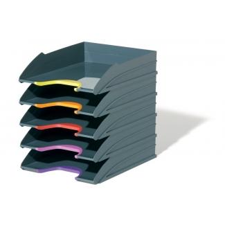 Durable 7705-57 - Bandeja de sobremesa de plástico, pack de 5 unidades, color gris
