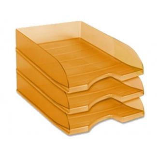 Bandeja sobremesa plástico Offisys apilable color naranja translúcido