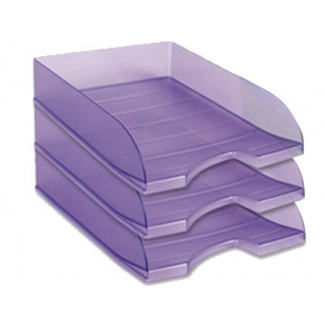 Bandeja sobremesa plástico Offisys apilable color violeta translúcido