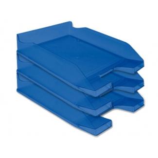 Bandeja sobremesa plástico Q-connect azul transparente