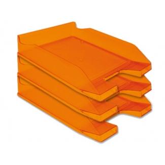 Q-Connect KF04201 - Bandeja de sobremesa de plástico, color naranja transparente
