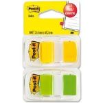 Banderitas separadoras 680-246p color verde y amarilla + dispensador