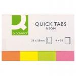 Banderitas separadoras Q-connect 20x50 mm fluorescente pack de 4 con 40 hojas
