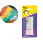 Banderitas separadoras rigidas dispensador 3 colores Post-it index 686l-gbr con banda blanca para escribir rojo