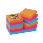 Bloc 100 de notas adhesivas quita y pon Post-it super sticky 51x51 mm pack de 12 blocs colores intensos surtidos