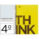 Bloc Cuarto Liderpapel serie Think cuadricula 4 mm amarillo