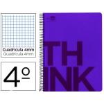 Bloc Cuarto Liderpapel serie Think cuadricula 4 mm violeta
