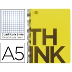 Bloc Din A5 Liderpapel serie Think cuadricula 5 mm amarillo