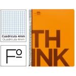 Bloc Folio Liderpapel serie Think cuadricula 4 mm naranja