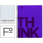Bloc Folio Liderpapel serie Think cuadricula 4 mm violeta