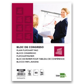 Bloc congreso Liderpapel liso 63x84 cm 50 hojas 80 gr/m2