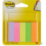 Post-it 671/5 - Banderitas separadoras adhesivas, 15 x 50 mm, pack de 5 colores surtidos