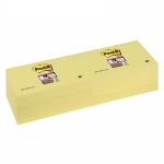 Bloc de 100 notas adhesivas quita y pon Post-it super sticky 76x127 mm pack con 12 blocs