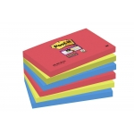 Bloc de 100 notas adhesivas quita y pon Post-it super sticky 76x127 mm pack con 6 blocs colores rojo, verde y azul