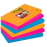 Bloc de 100 notas adhesivas quita y pon Post-it super sticky 76x127 mm pack con 6 blocs colores rosa, naranja y azul