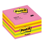 Bloc de 450 notas adhesivas quita y pon Post-it 76x76 mm colores rosa neón, amarillo, naranja, fucsia y verde