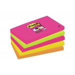 Bloc de 90 notas adhesivas quita y pon Post-it super sticky 76x127 mm pack de 5 blocs colores surtidos