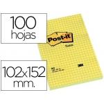 Bloc de notas adhesivas quita y pon Post-it 102x152 mm cuadriculado 662
