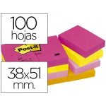 Bloc de notas adhesivas quita y pon Post-it 38x51 mm neon pack de 12 blocs color SURTIDO