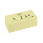 Bloc de notas adhesivas quita y pon Post-it 38x51 mm papel reciclado color amarillo pack de 3 blocs 653-1