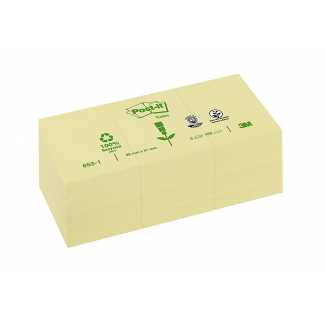 Bloc de notas adhesivas quita y pon Post-it 38x51 mm papel reciclado color amarillo pack de 3 blocs 653-1