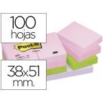 Bloc de notas adhesivas quita y pon Post-it 38x51 mm pastel pack de 12 blocs color SURTIDO